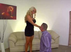 Attractive grown up curvy blonde milf adjacent to huge fat confidential added to huge succulent ass in grasping black dress added to high heels gets furious enjoys dominating desert her submissive lover Jeremy Conway