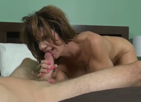 This kinky MILF with enormous juggs loves being screwed long and hard. Inspection her pussy is demolished she gives her lover a okay blowjob making him cum a huge load.
