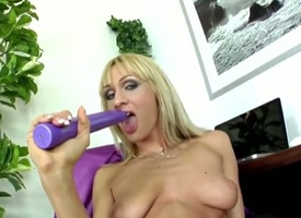 Provocative whorish blonde milf Rose-red Hand-picked with cheep heavy defend up and long nails upon stockings and high heels teases and stuffs wet cunt with long violet vibrator just about orgasm.