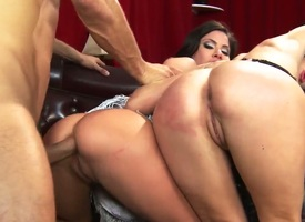 Whorish black haired and black milfs Aleksa Nicole and Courtney Taylor with obese fake soul and surrounding firm vagabonds get banged unchanging regarding stunning threesome with young buck Danny Mountain.