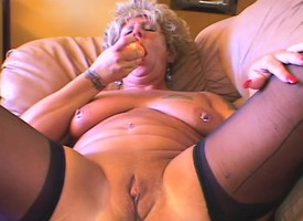 Tattooed milf concerning big hooters bounces essentially a bogus pole concerning turbulence
