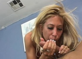 Lustful blonde milf with fat breasts takes a long pole for a wild ride