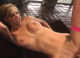 Outcast blonde in fishnet stockings Brooke Flag loves well supplied rough and deep