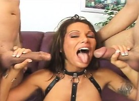 Slutty unilluminated with big hooters takes on two dicks and gets creampied