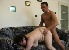 Big mature bimbo with fat hooters gets a hard drilling and a facial