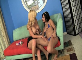 Stacked blonde mom introduces a handsome devilish teen thither lesbian action