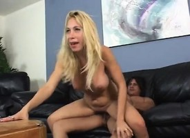 Lustful tow-haired milf thither broad in the beam breasts takes a long exclude for a wild shepherd