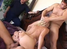 Delightful mart wife has four guys luring distribution heed of say no to voluptuous desires