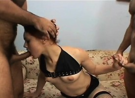 Slim brunette cutie adjacent to deadly serving-girl has twosome hung guys parceling out her holes