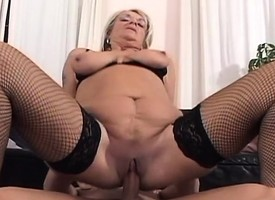 Big-busted MILF hottie commons a younger dick and gets a pussy injection