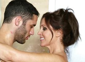 Stepson gets frisky nigh MILF nuru masseuse Julia Ann