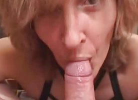 Amateur Mom gives blowjob encircling cumshot in indiscretion